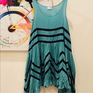 NWT Free People lace trapeze slip dress jade Small